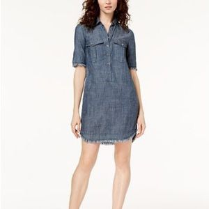 Short-Sleeved Chambray Shirtdress